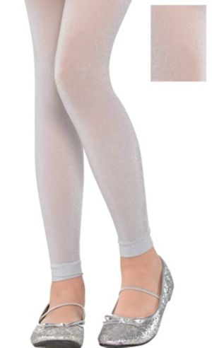 Child Silver Footless Tights