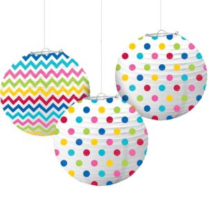 Bright Rainbow Polka Dot & Chevron Paper Lanterns 3ct