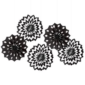 Black Polka Dot & Chevron Mini Paper Fan Decorations 5ct