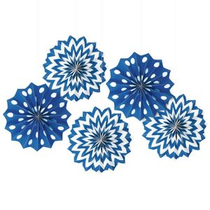 Royal Blue Polka Dot & Chevron Mini Paper Fan Decorations 5ct