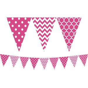 Bright Pink Patterned Pennant Banner