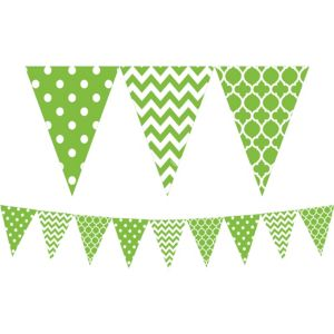 Kiwi Green Patterned Pennant Banner