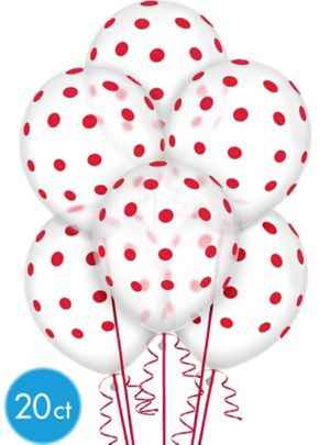 Transparent & Red Polka Dot Balloons 20ct