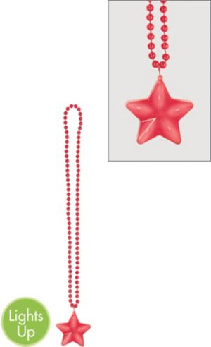 Light-Up Red Star Pendant Bead Necklace