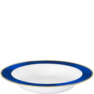 Gold & Royal Blue Border Premium Plastic Bowls 10ct