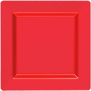 Red Premium Plastic Square Dinner Plates 10ct
