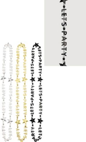 Black, Gold & Silver Let's Party Bead Necklaces 3ct