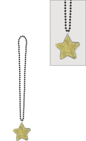 Black, Gold & Silver Star Pendant Bead Necklace