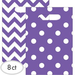 Purple Polka Dot & Chevron Favor Bags 8ct