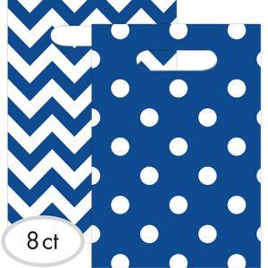 Royal Blue Polka Dot & Chevron Favor Bags 8ct