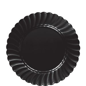 Black Premium Plastic Scalloped Lunch Plates 12ct