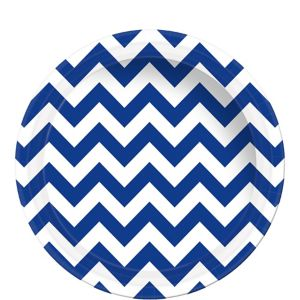 Royal Blue Chevron Paper Lunch Plates 8ct