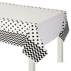 Black Polka Dot & Chevron Plastic Table Cover