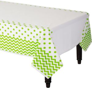 Kiwi Green Polka Dot & Chevron Plastic Table Cover