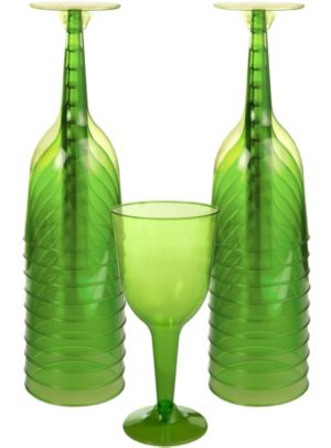 Big Party Pack Kiwi Green Plastic Wine Glasses 20ct