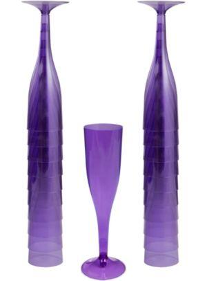 Purple Plastic Champagne Flutes 20ct