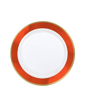 Gold & Orange Border Premium Plastic Appetizer Plates 10ct