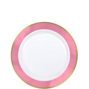Gold & Pink Border Premium Plastic Appetizer Plates 10ct