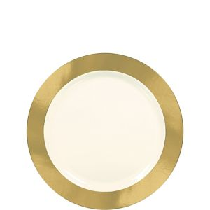 Gold & Cream Border Premium Plastic Appetizer Plates 10ct