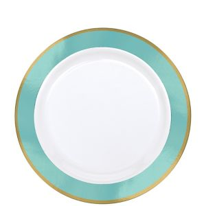Gold & Robin's Egg Blue Border Premium Plastic Lunch Plates 10ct