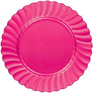 Bright Pink Premium Plastic Scalloped Dinner Plates 12ct