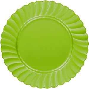 Kiwi Green Premium Plastic Scalloped Dinner Plates 12ct