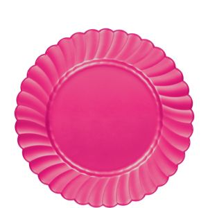 Bright Pink Premium Plastic Scalloped Lunch Plates 12ct