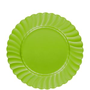 Kiwi Green Premium Plastic Scalloped Lunch Plates 12ct
