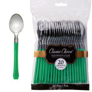 Classic Silver & Festive Green Premium Plastic Spoons 20ct