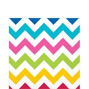 Bright Rainbow Chevron Lunch Napkins 16ct