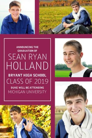 Custom Classic Berry Collage Graduation Photo Announcement