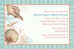 Custom By the Sea Seashell Invitation