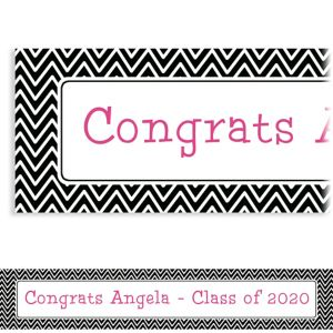 Custom Black & White Chevron Graduation Banner