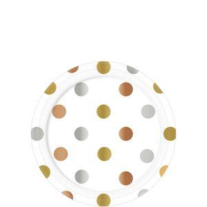 Metallic Polka Dot Paper Dessert Plates 8ct