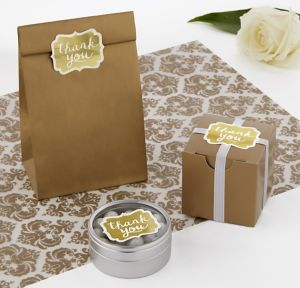 Gold Scroll Thank You Sticker Seals 50ct