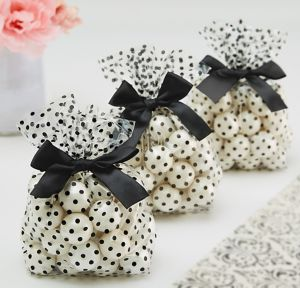 Black Polka Dot Treat Bags with Bows 12ct