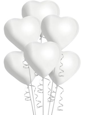 White Heart Balloons 6ct