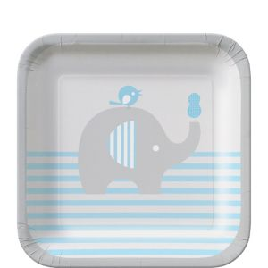 Blue Baby Elephant Dessert Plates 8ct