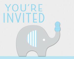 Blue Baby Elephant Invitations 8ct