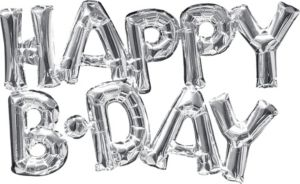 Air-Filled Silver Happy B-Day Letter Balloon Banners 2ct