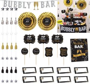 Black, Gold & Silver Champagne Bar Decorating Kit 23pc
