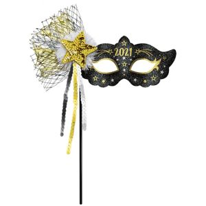 Black, Gold & Silver Glitter 2018 Masquerade Mask on a Stick