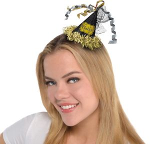 Black, Gold & Silver Party Hat Hair Clip