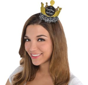 Black, Gold & Silver Mini Glitter Crown
