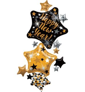 Black, Gold & Silver New Year's Star Balloon Cluster - Giant