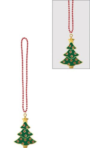 Christmas Tree Pendant Bead Necklace