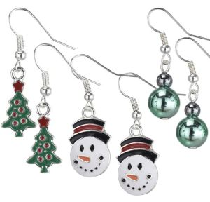 Christmas Tree & Snowman Christmas Earrings Set 6pc