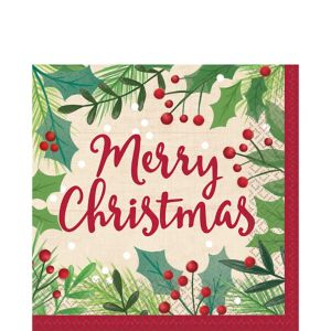 Holly Merry Christmas Lunch Napkins 16ct