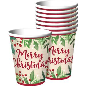 Holly Merry Christmas Cups 8ct