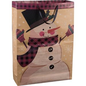 Giant Cozy Snowman Kraft Gift Bag